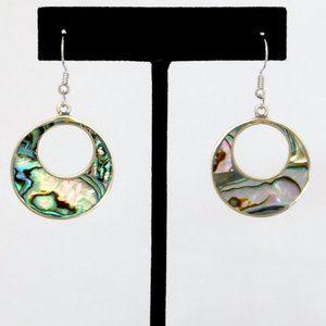 Mexican Earrings Abalone Shell Alpaca Dangle K25